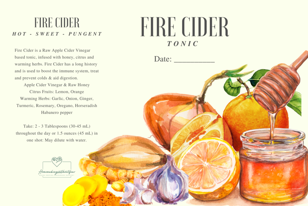 Fire Cider is a pungent, spicy mix of apple cider vinegar and honey infused with warming herbs and citrus. It has for decades been used as an herbal immune boosting tonic . . . great for prevention of colds & other respiratory viruses as well as improving circulation and digestion.