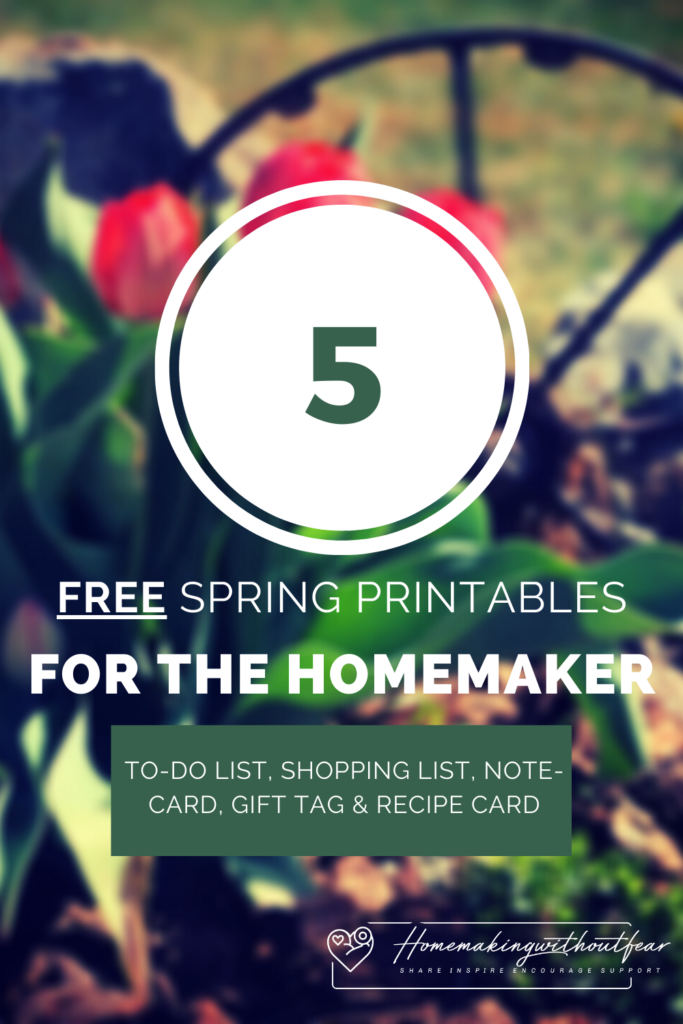 In honor of Springtime here is a beautiful FREE homemaking stationery set for you to bring a little joy and beauty into your home. This printable set includes: to-do list, shopping list, note-card, gift tag and recipe card.