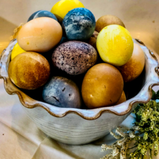 all natural Easter eggs brightly colored and nontoxic in white bowl
