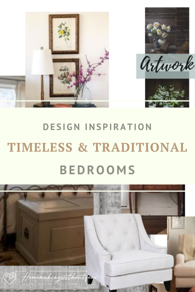 Timeless Traditional Decor combines American Traditional and Classic Formal style with a touch of Rustic. Timeless Traditional Decor never goes out of style. It is classy, comfortable and lived in. It is collected and slightly eclectic but also put-together and polished without being pretentious. This style is PERFECT for creating intimate, comfortable, cozy bedrooms spaces. Let me show you my plans and design boards for our new bedrooms with BONUS links to my Pinterest boards for more inspo.
